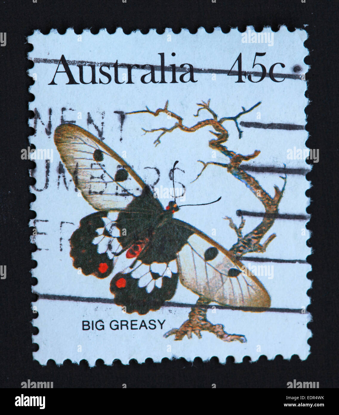 Used and postmarked Australia / Austrailian Stamp Big Greasy 45c - Stock Image