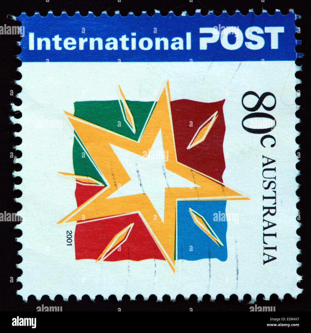 Used and postmarked Australia / Austrailian Stamp 2001 International Post 80c - Stock Image