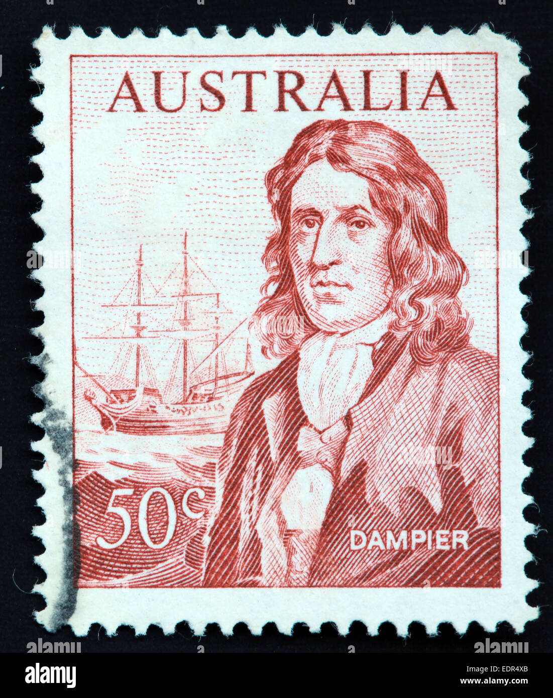 "Used and postmarked Australia / Australian Stamp 50c Dampier with the ""Roebuck"" sailing ship Stock Photo"