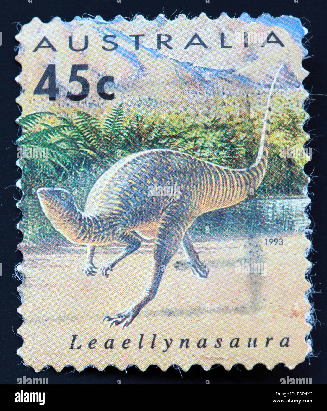 Used and postmarked Australia / Austrailian Stamp 45c Leaellynasaura 1993 - Stock Image