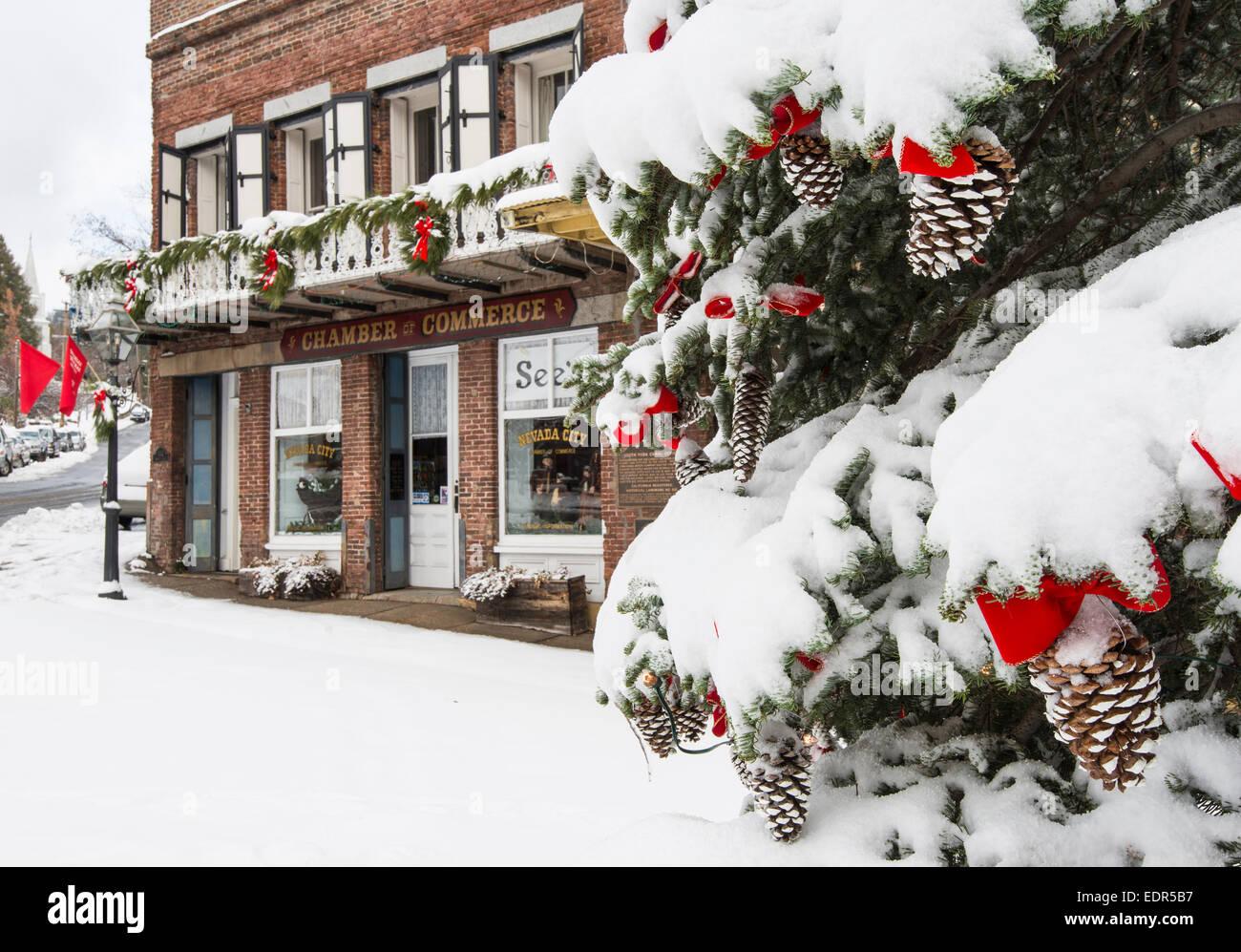 Historic Nevada City and fresh winter snows - Stock Image
