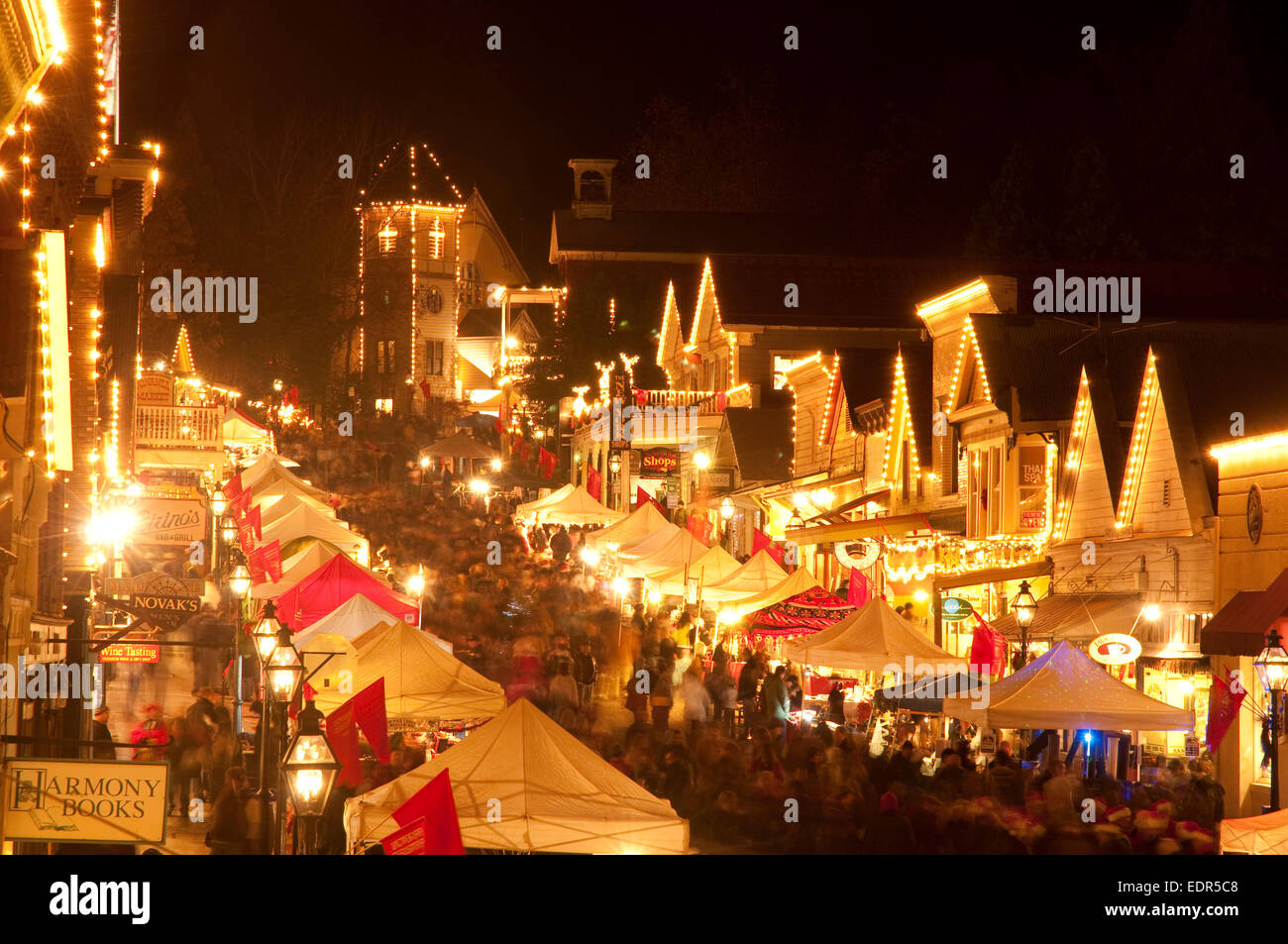 Historic Nevada City Glowing At Dusk With Christmas Lights Stock Photo Alamy