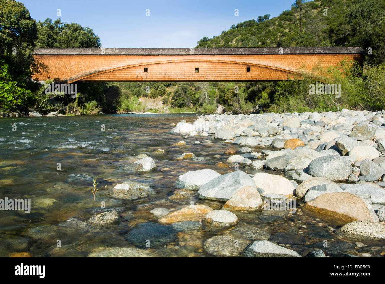 Bridgeport covered Bridge at the South Yuba River State Park Stock Photo