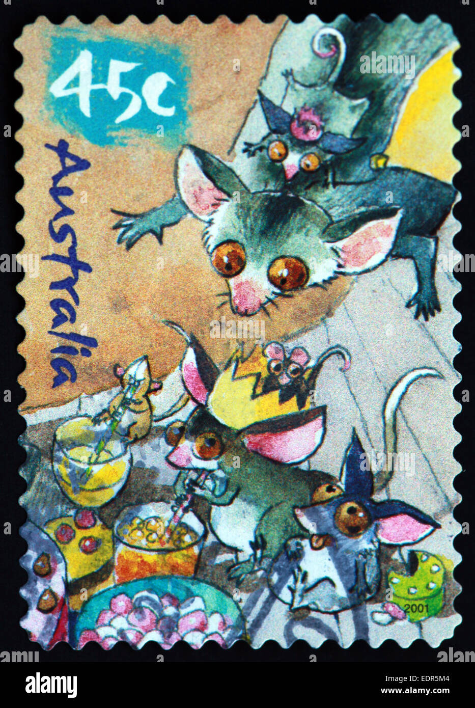 Used and postmarked Australia / Austrailian Stamp 45c cartoon mouse mice - Stock Image