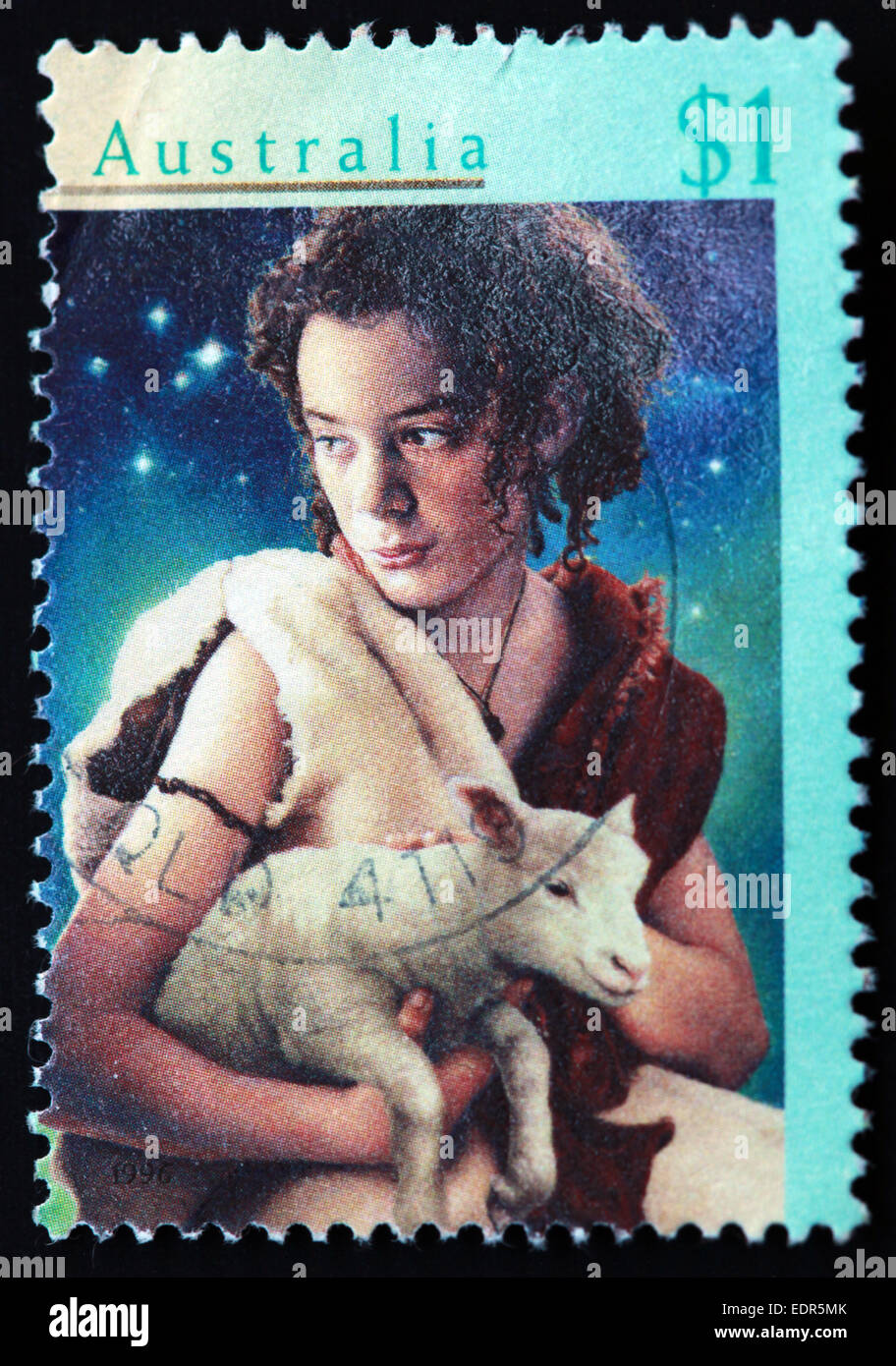 Used and postmarked Australia / Austrailian Stamp 1996 $1 Xmas - Stock Image
