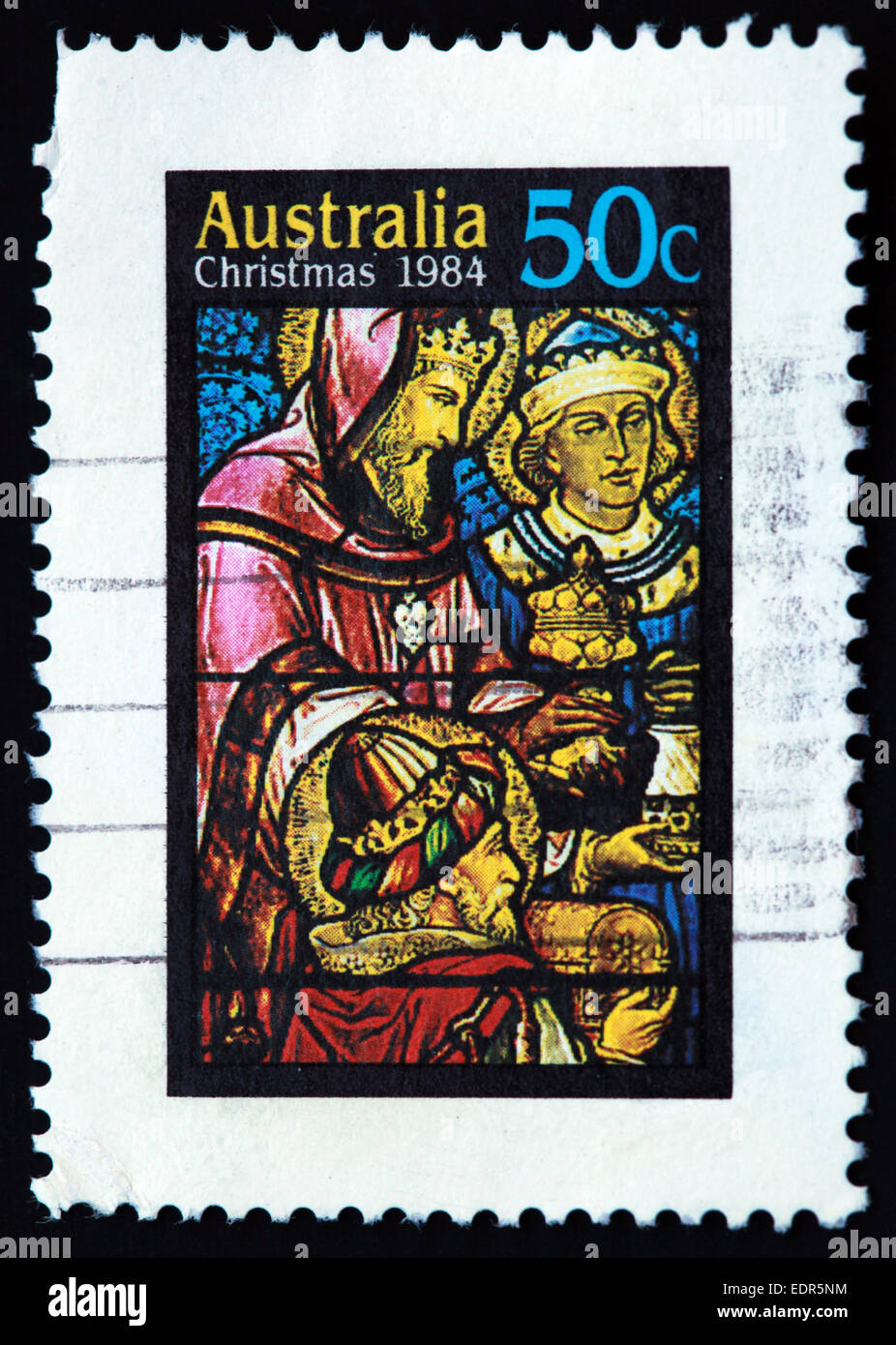 Used and postmarked Australia / Austrailian Stamp Christmas 1984 50c - Stock Image