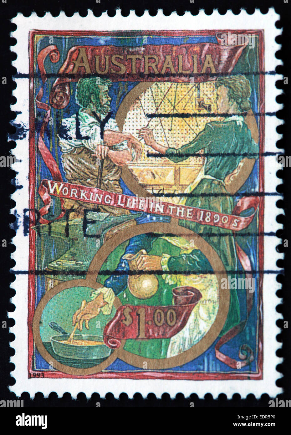 Used and postmarked Australia / Austrailian Stamp $1 working life in the 1890s 1993 - Stock Image