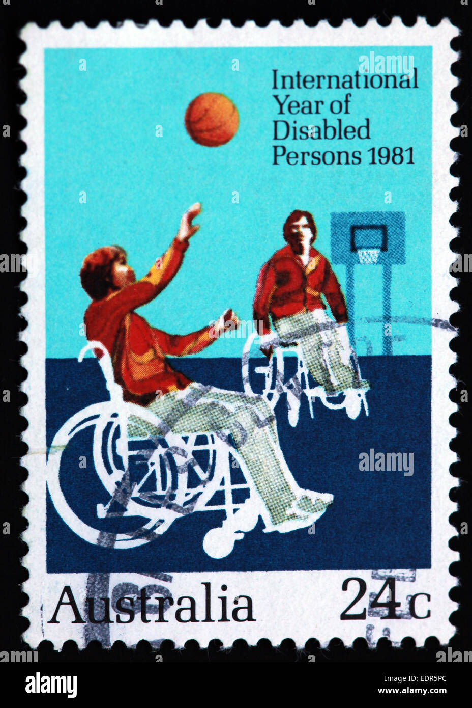 Used and postmarked Australia / Austrailian Stamp 24c 1981 International Year of Disabled Persons Wheelchair Basketball - Stock Image