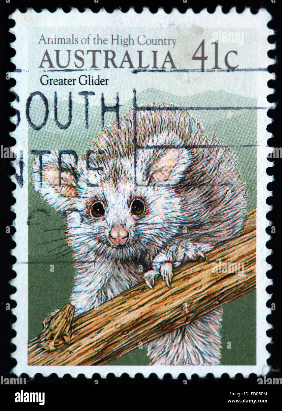 Used and postmarked Australia / Austrailian Stamp 41c Animals of the high country Greater Glider - Stock Image