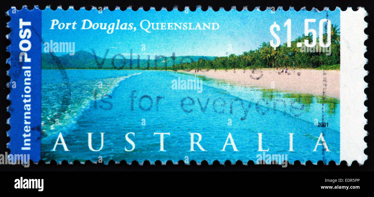 Used and postmarked Australia / Austrailian Stamp $1.50 port Douglas Queensland 2001 International Post - Stock Image