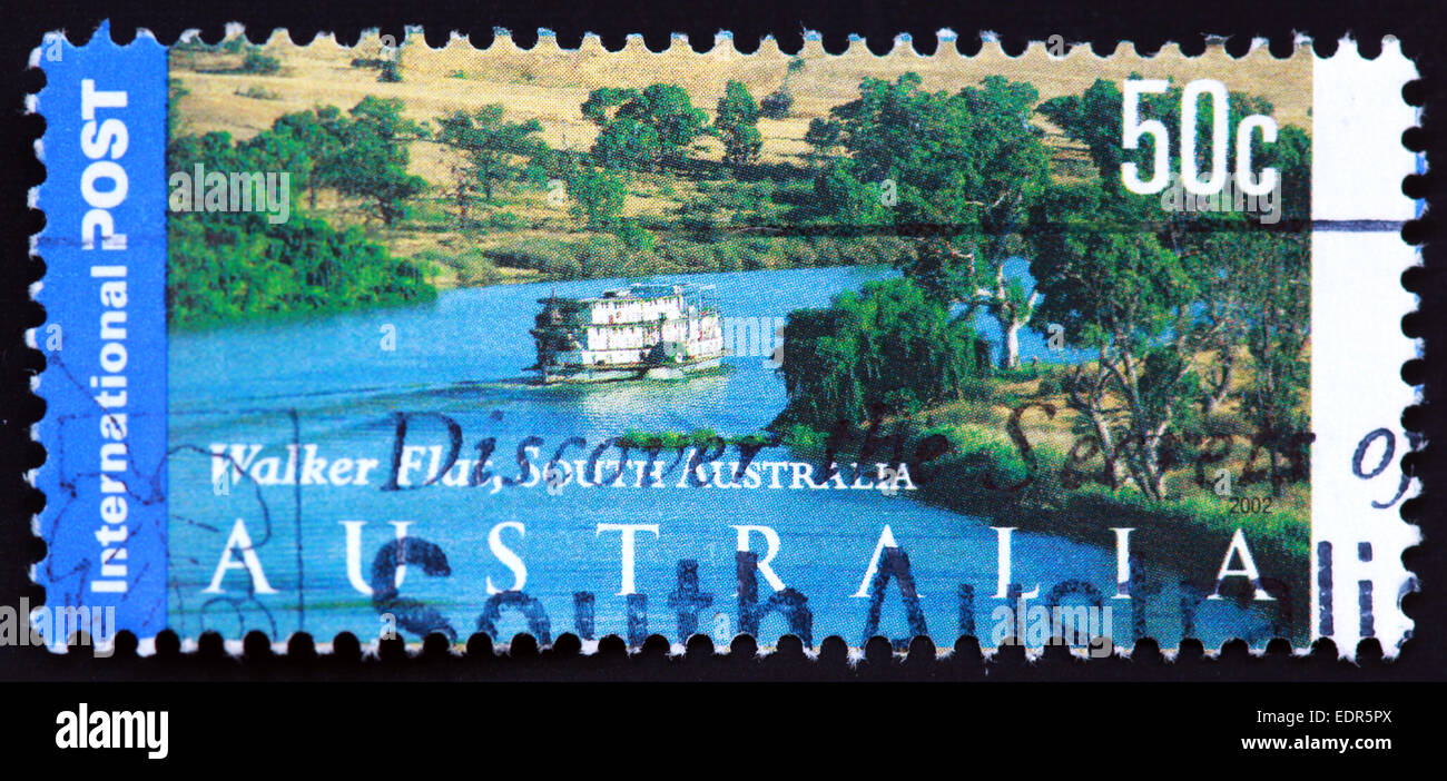 Used and postmarked Australia / Austrailian Stamp 50c Walker Flat South 50c 2002 - Stock Image