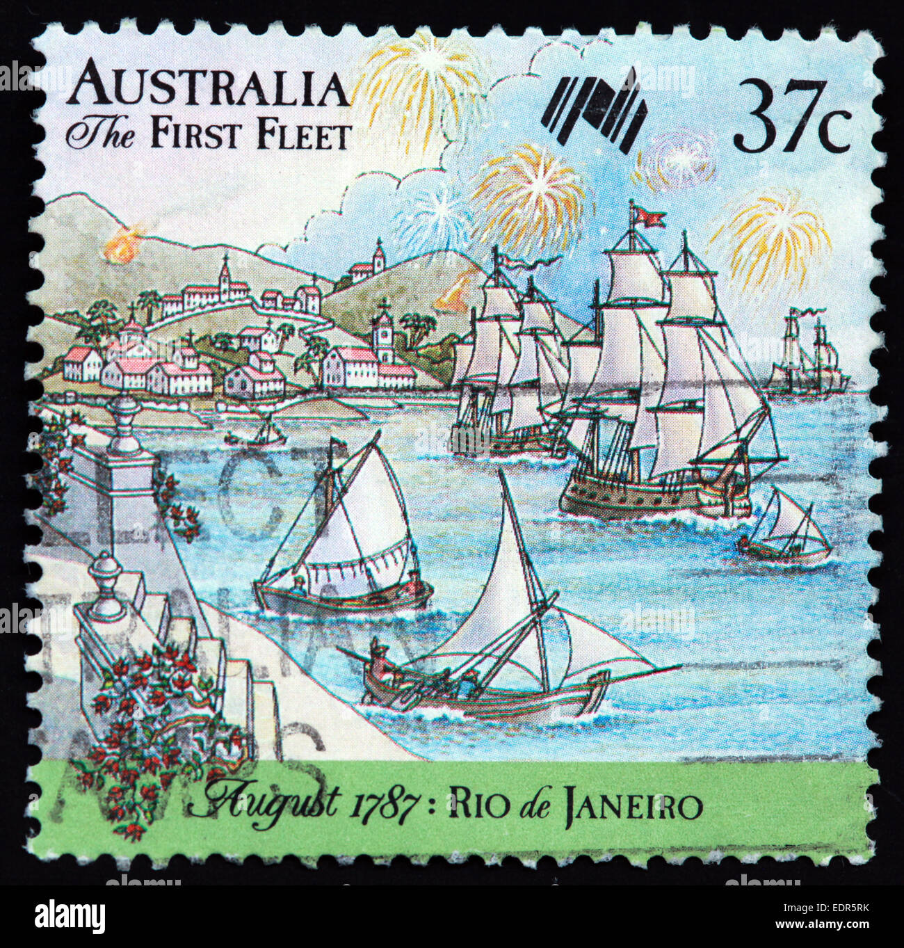 Used and postmarked Australia / Austrailian Stamp 37c The First Fleet August 1787 Rio de Janeiro - Stock Image