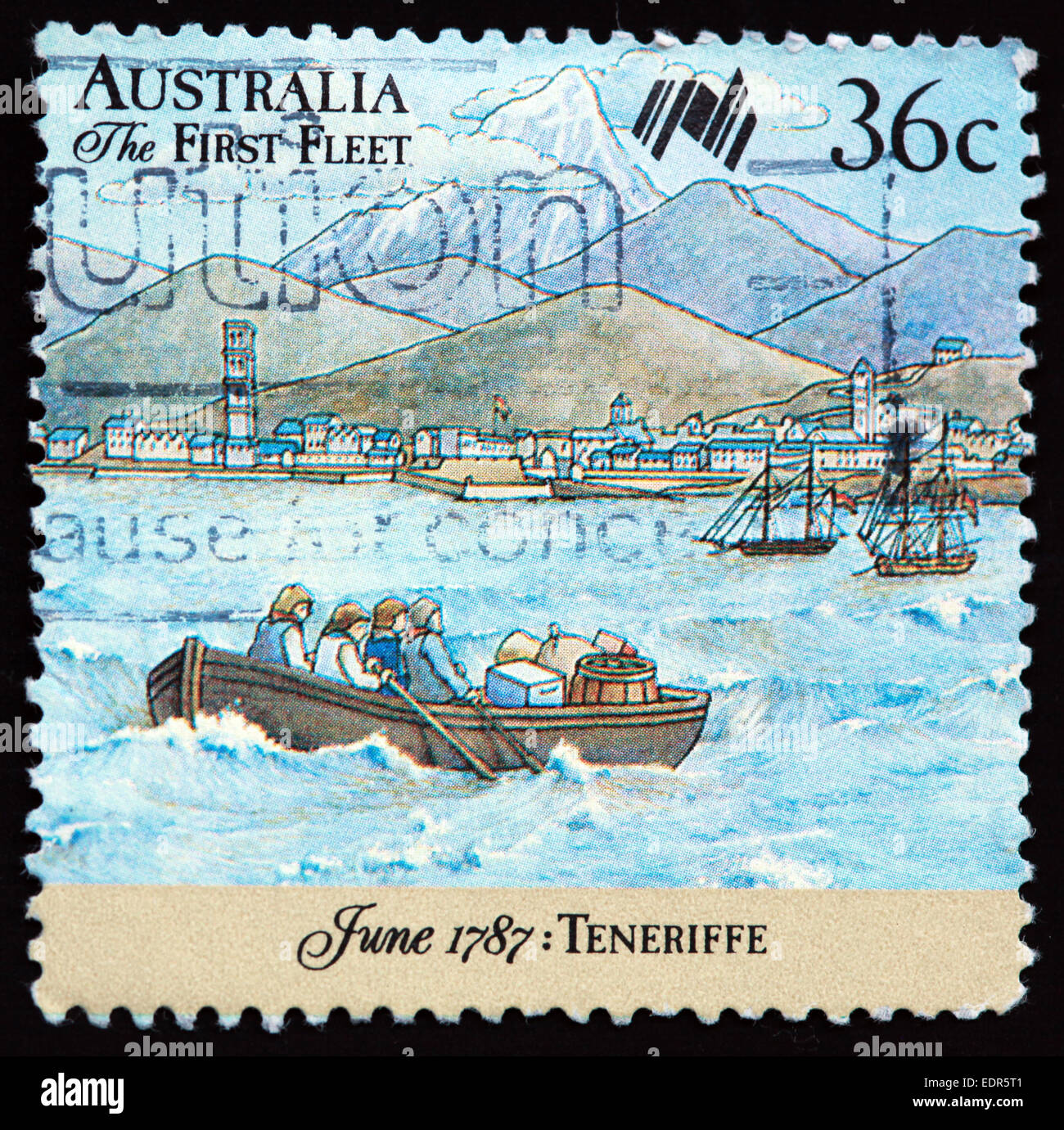Used and postmarked Australia / Austrailian Stamp 36c The first Fleet June 1787 Teneriffe - Stock Image