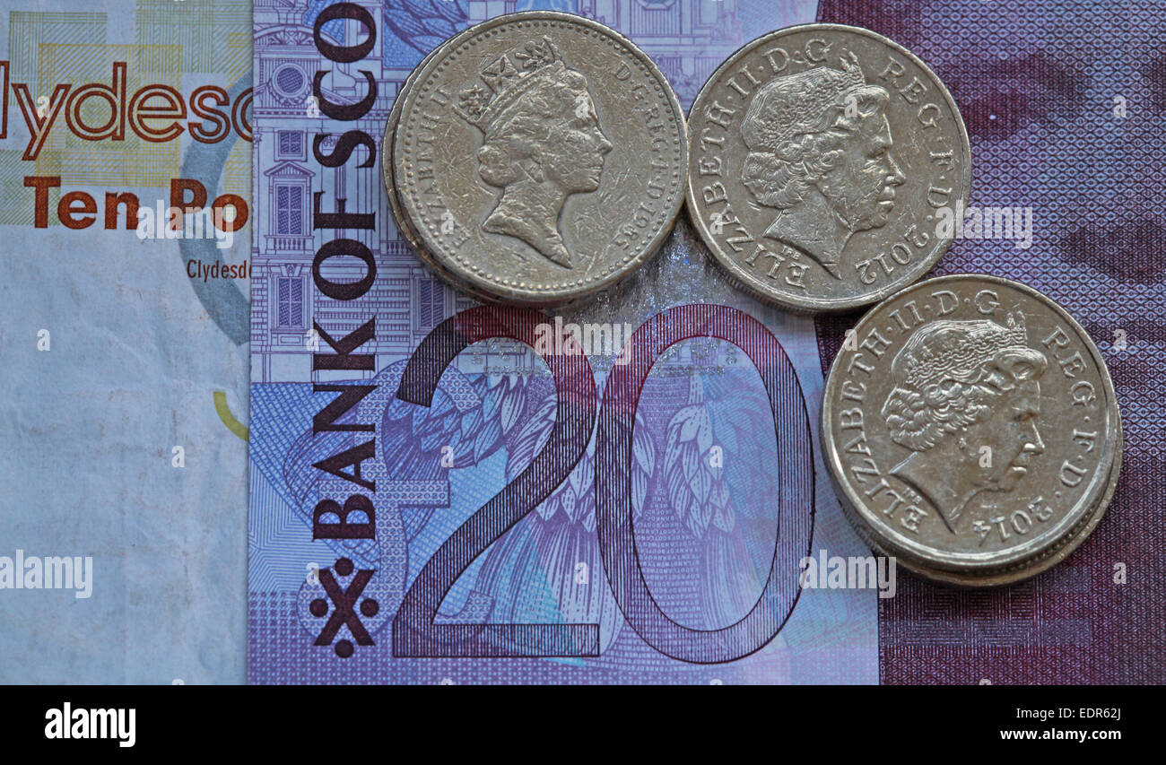 Scotland Sterling notes Scottish coin coins money currency finance - Stock Image