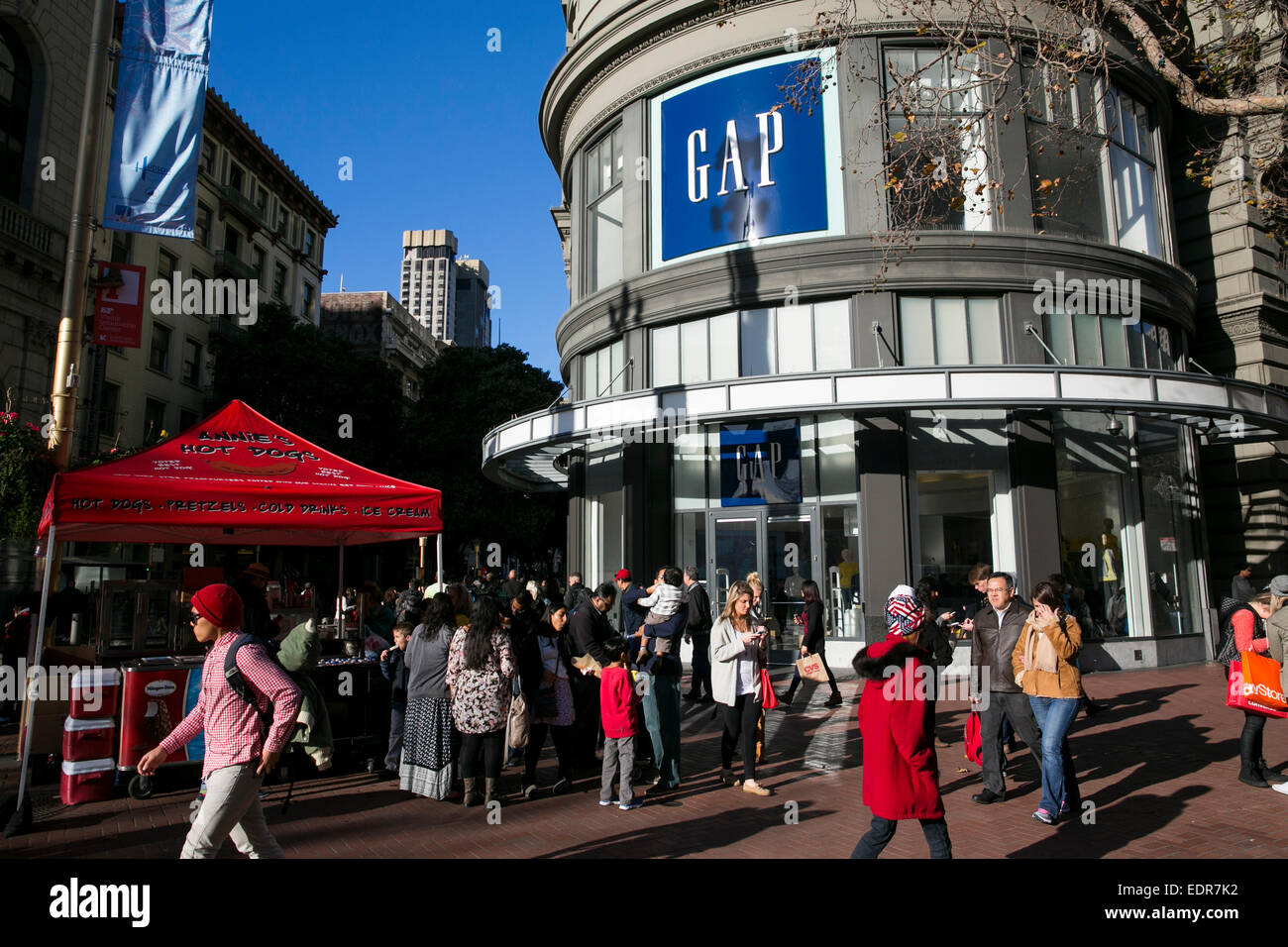 A Gap clothing retail store in downtown San Francisco, California. - Stock Image