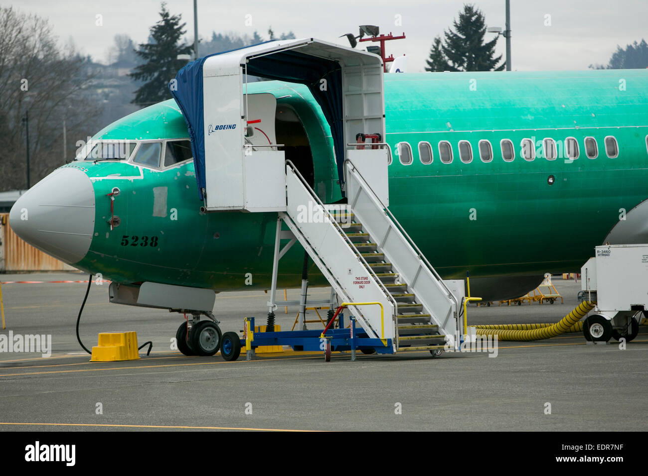 Boeing 737 aircraft await painting at the Boeing Renton Factory, where all 737 airplanes are built in Renton, Washington. - Stock Image