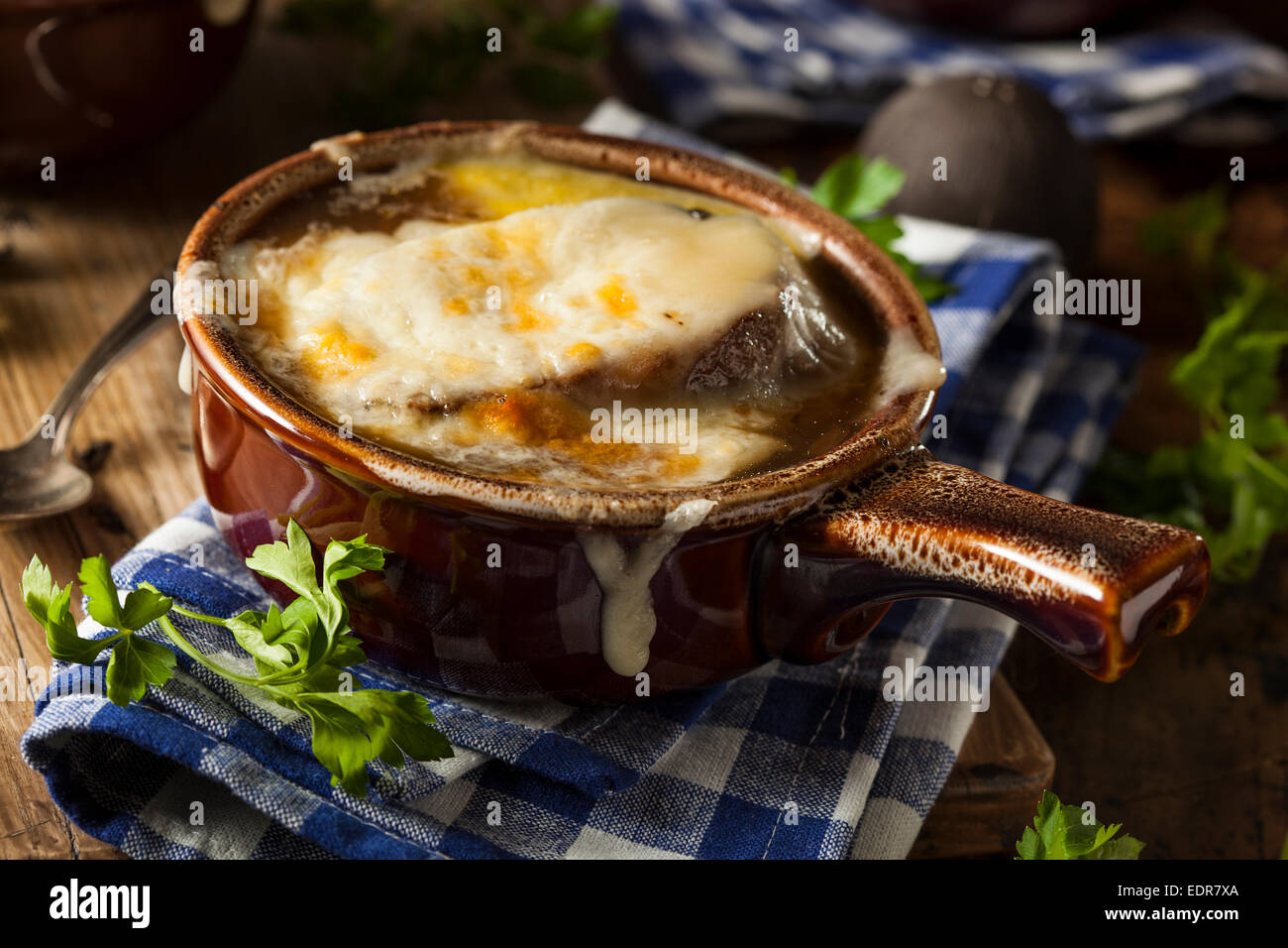 Homemade French Onion Soup with Cheese and Toast - Stock Image