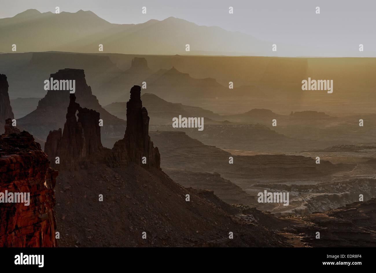 canyon spire [canyonland National Park] mesa - Stock Image