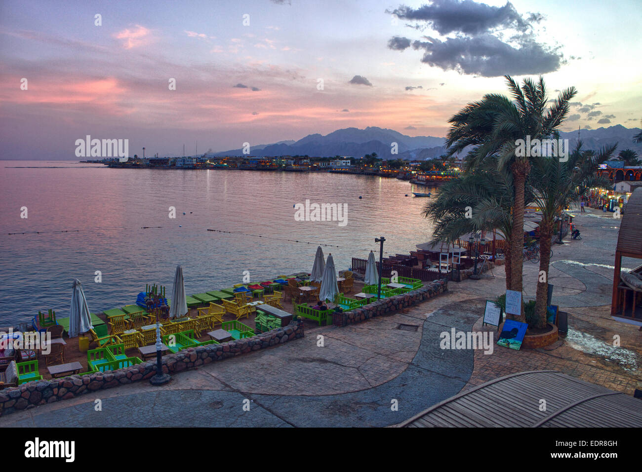 Once an Oasis on the Red Sea, this is Dahab, a fine diving destination. - Stock Image