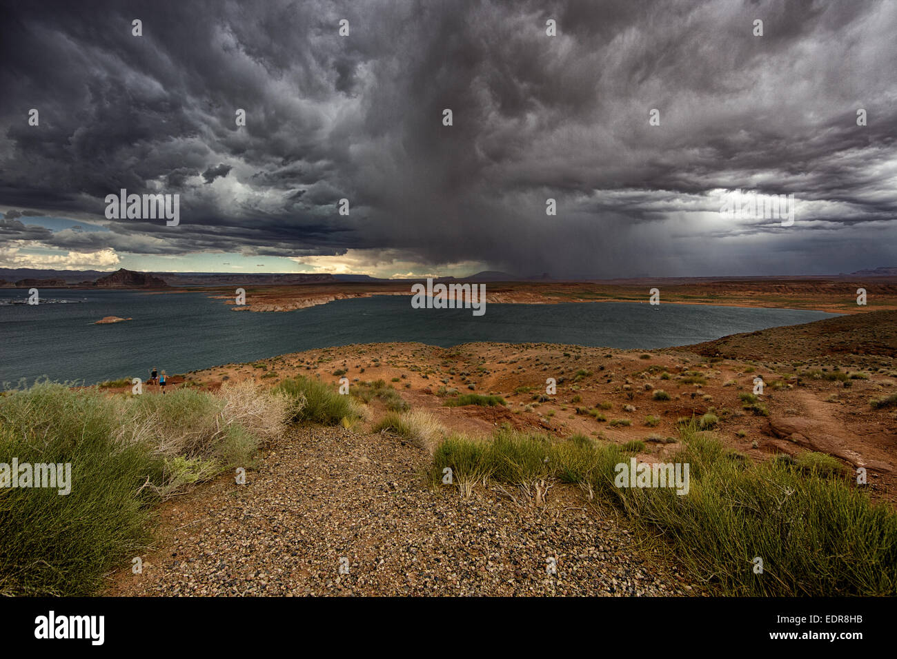 stormy conditions over Mead Lake Stock Photo