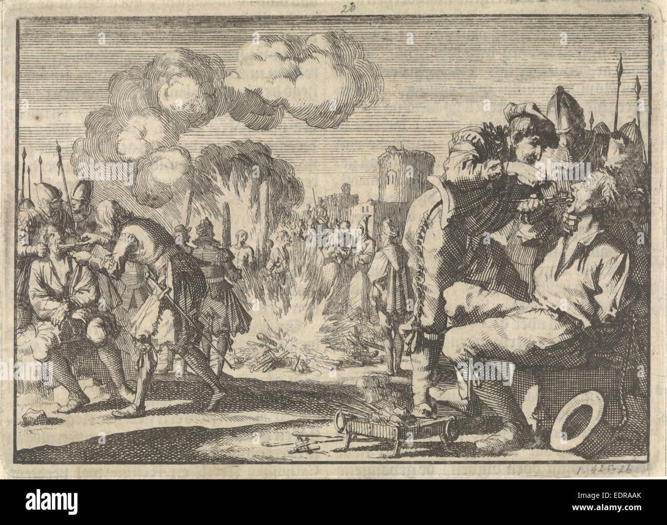 Persecution of the reformers in the Netherlands, 1574, Jan Luyken, Pieter van der Aa (I) - Stock Image
