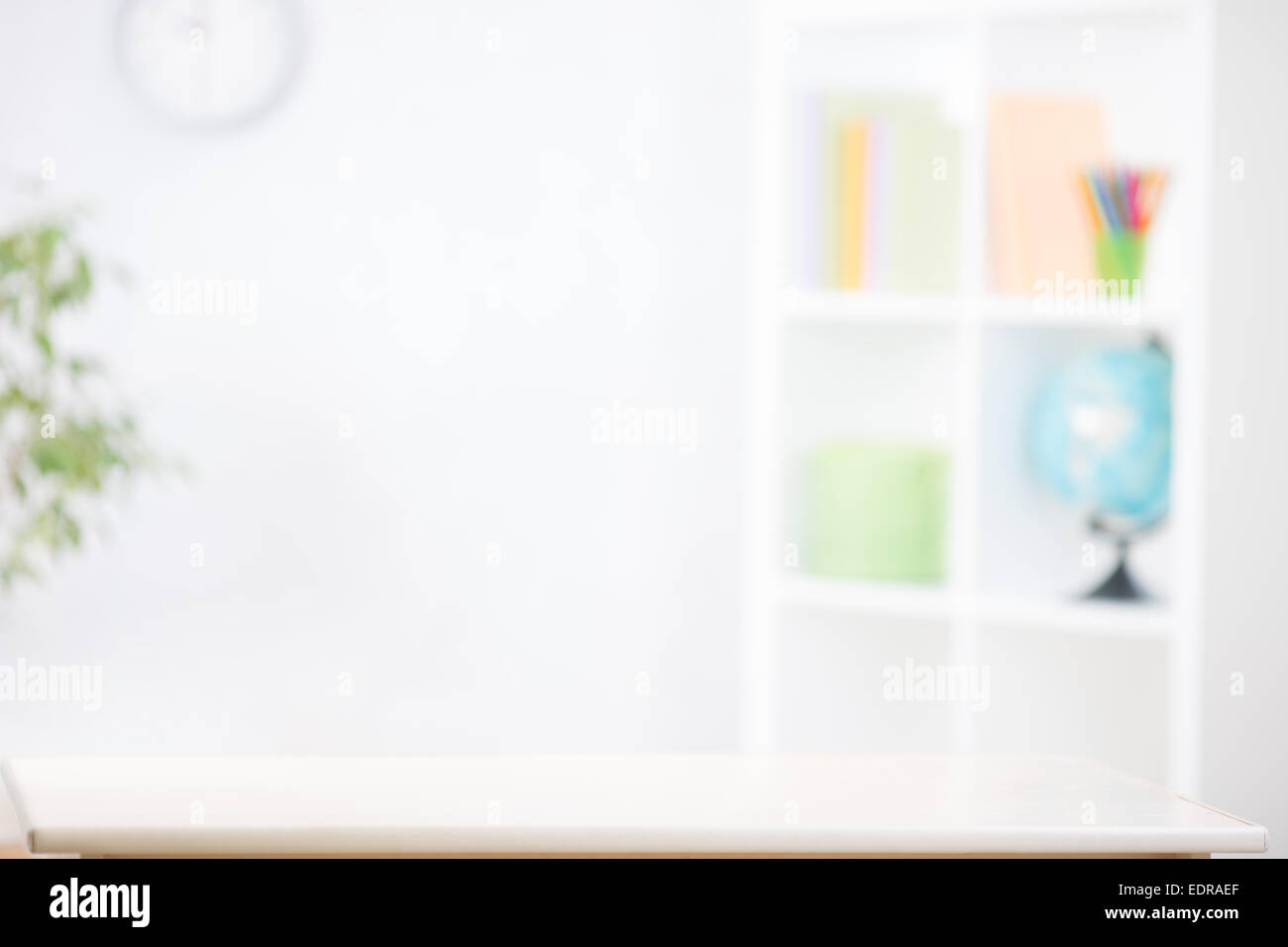 nursery room blurred background with writting desk - Stock Image