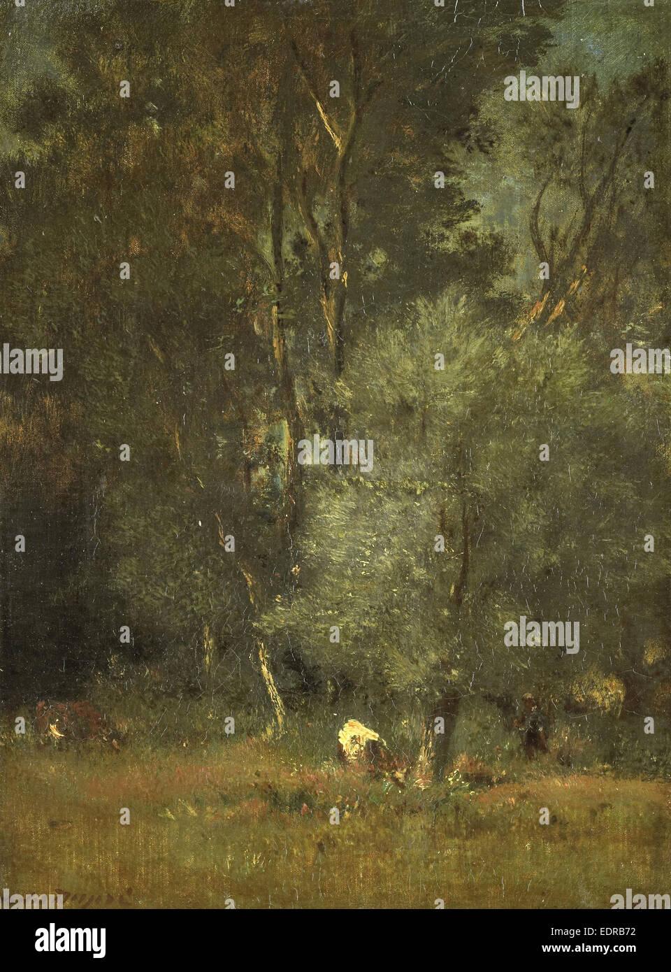 Forest scene, Jules Dupré, 1840 - 1889 - Stock Image
