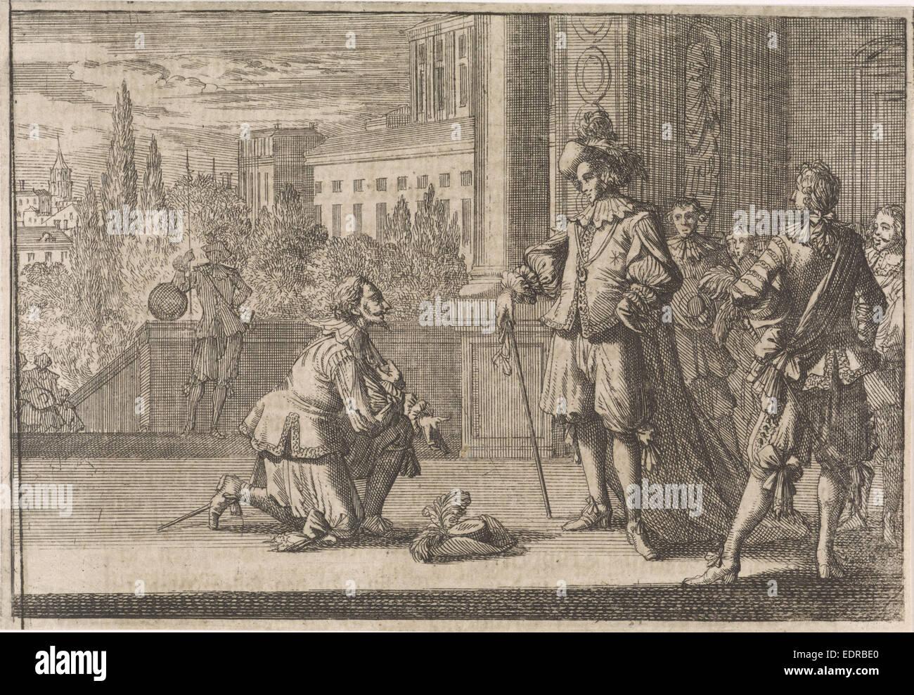 Charles IV, Duke of Lorraine kneels before Louis XIII, 1641, Johann David Zunnern Stock Photo