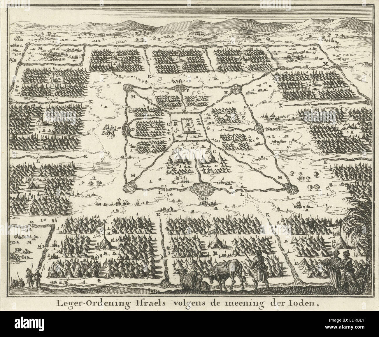 Tabernacle surrounded by camps of the twelve tribes of Israel, Jan Luyken, Willem Goeree, 1683 - Stock Image