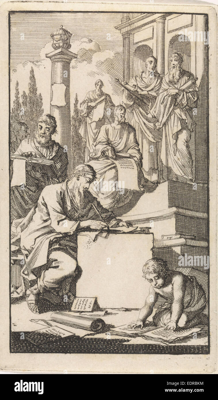 Six scholars with rolls of parchment on the stairs of a temple, Jan Luyken, 1698 - Stock Image