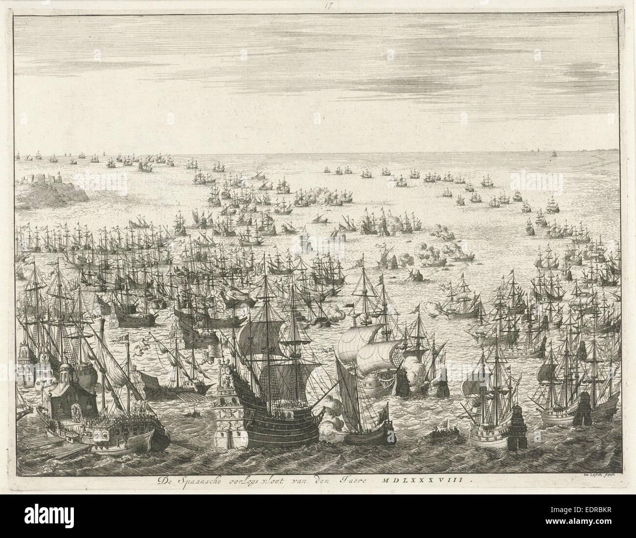 Sinking of the Spanish Armada, 1588, Jan Luyken, weduwe Joannes van Someren  -