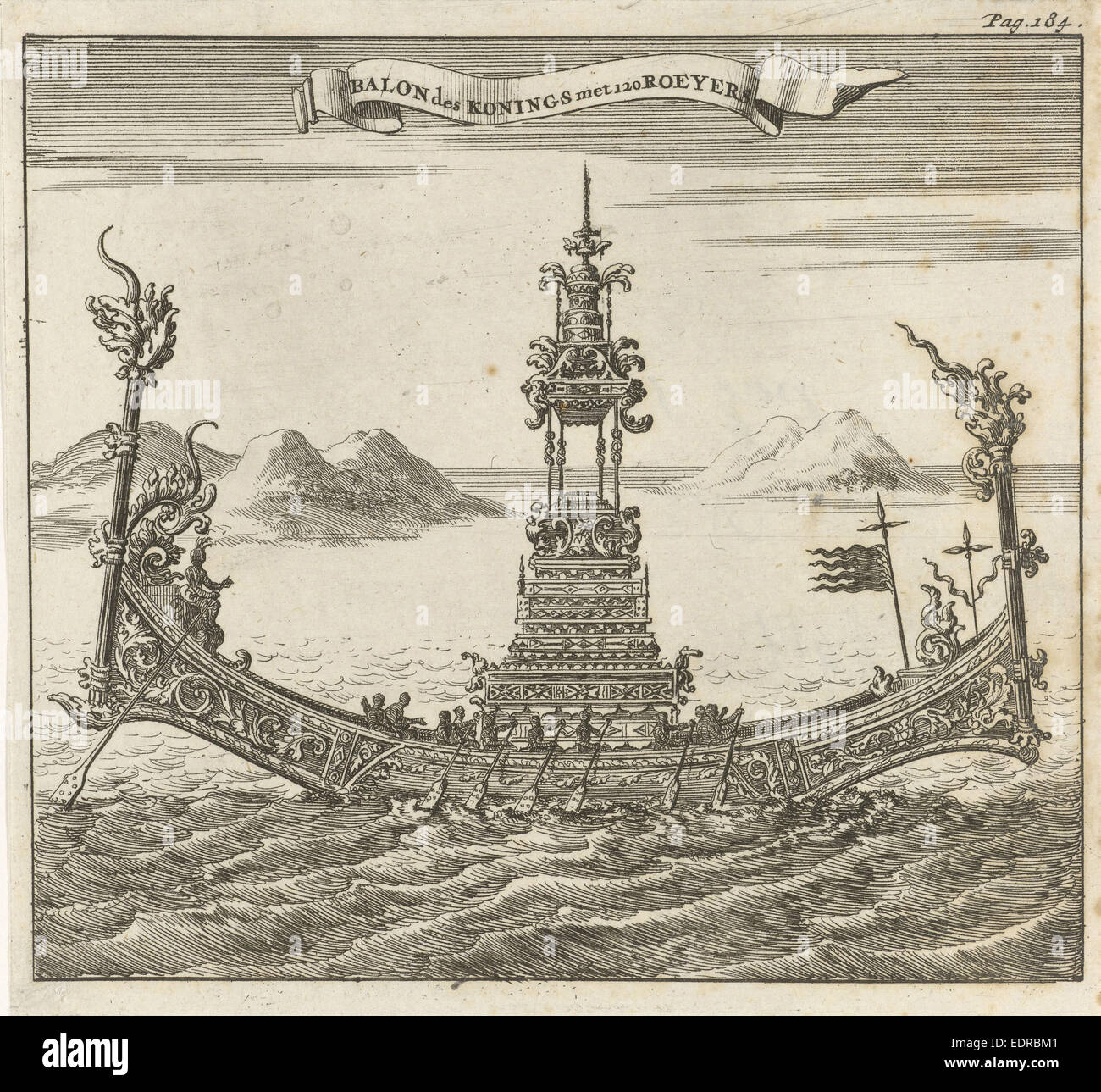 Royal vessel with 120 rowers to Siam, Thailand, Jan Luyken, Aart Dircksz Oossaan, 1687 - Stock Image
