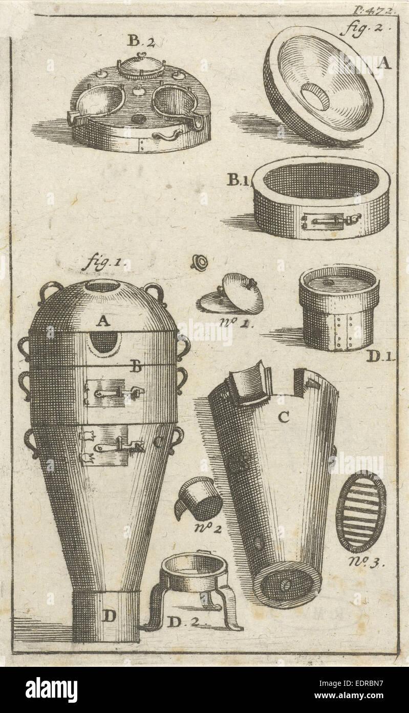 Distillation device, and different parts separately, Jan Luyken, Jan Claesz ten Hoorn, 1693 - Stock Image