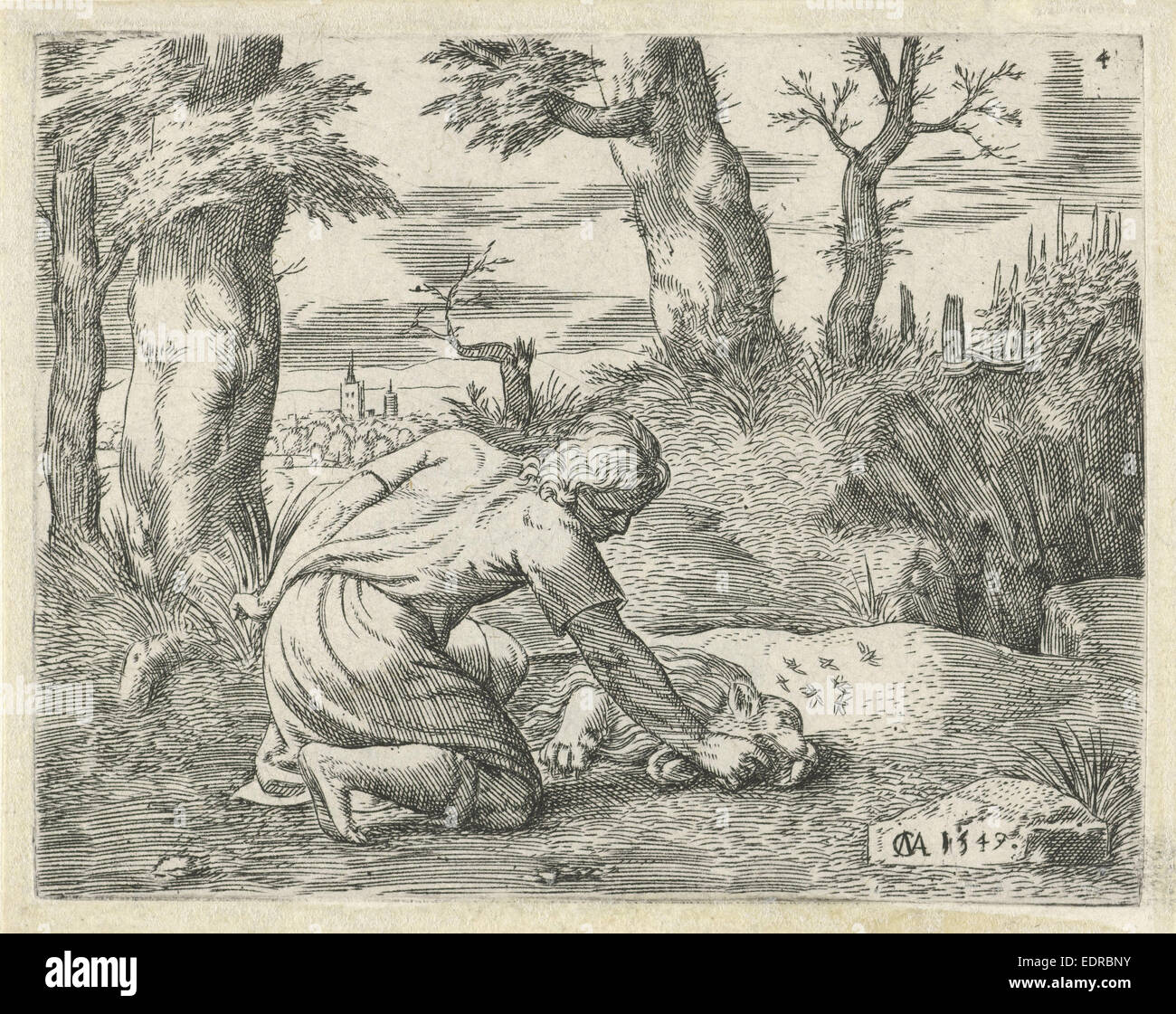 Simson find honey in the dead lion, Cornelis Massijs, 1549 Stock Photo