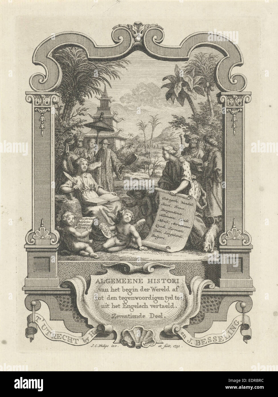 Allegorical title page History, Jan Caspar Philips, 1751 - Stock Image