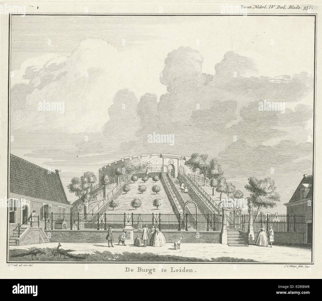 View of the castle of Leiden The Netherlands, Jan Caspar Philips, 1742 - Stock Image