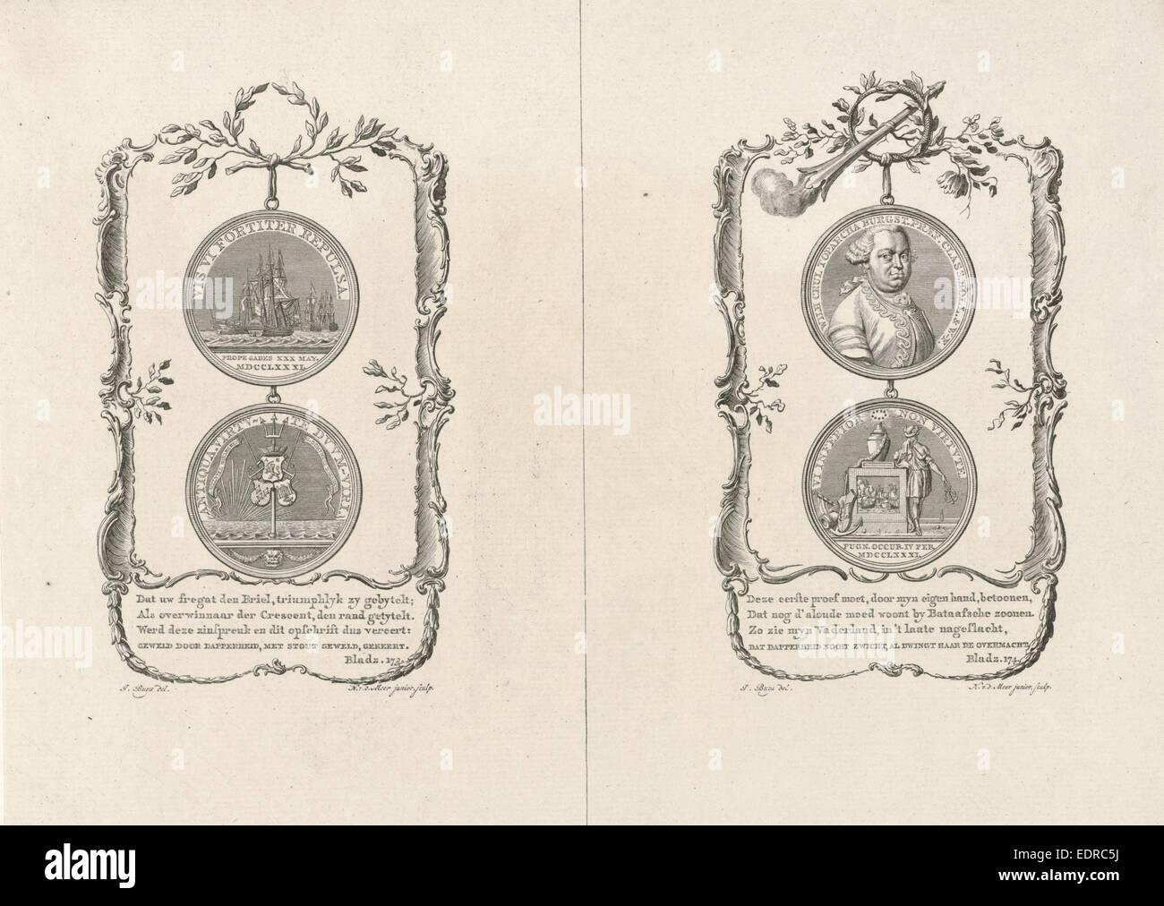 Commemorative medals for the Battle of Cadiz and for Willem Crul, Noach van der Meer (II), 1781 - Stock Image