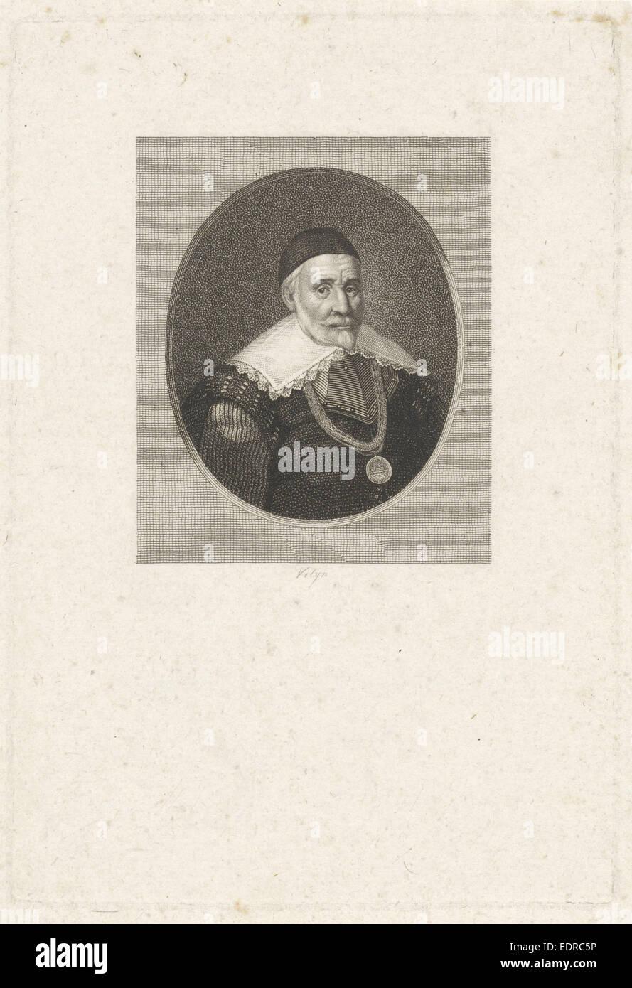 Portrait of Adriaen Joosten van Bergen, Philippus Velijn, 1797 - 1836 - Stock Image