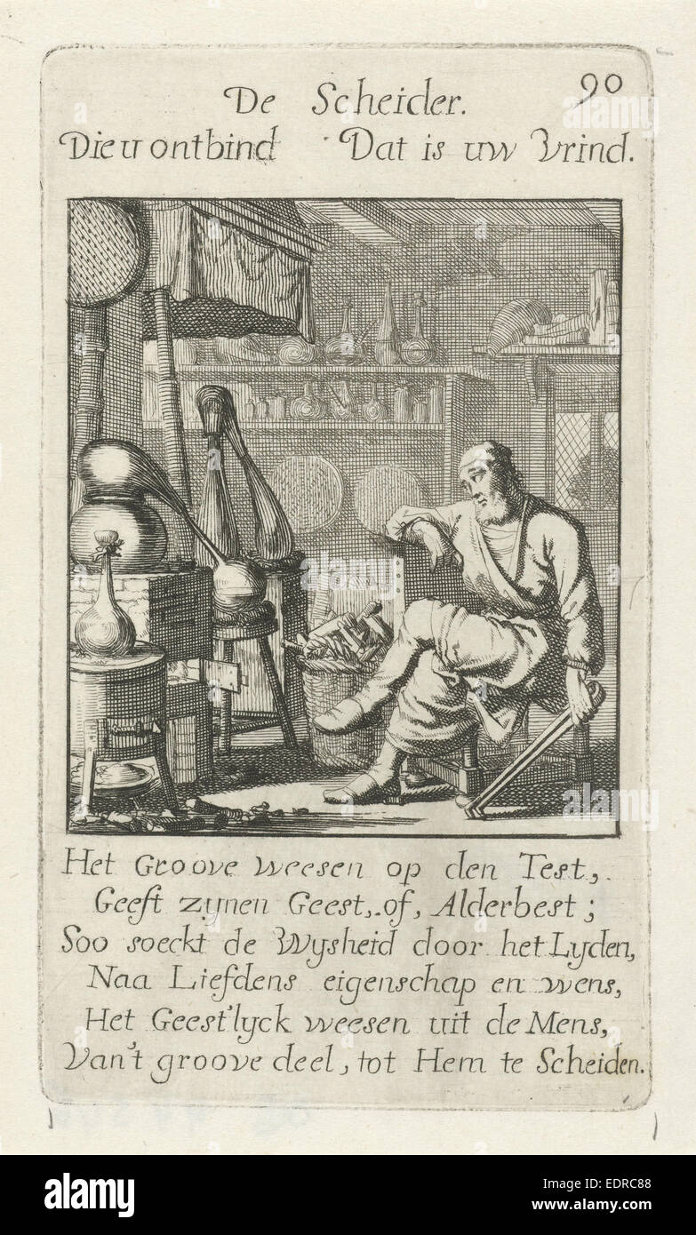 Alchemist, Jan Luyken, 1694 - Stock Image