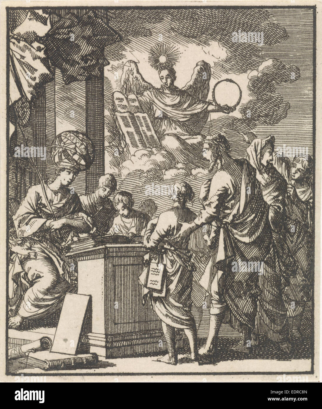 Science and Divine Wisdom, Jan Luyken, 1699 - Stock Image