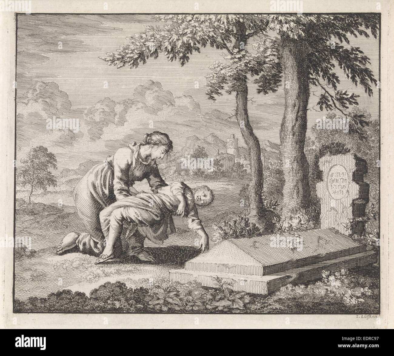Woman brings her child dead to the grave of Saint Stephen, Jan Luyken, 1701 - Stock Image