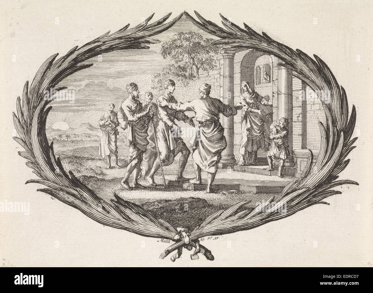 Aliens hostels, Jan Luyken, Dutch, 1649 - 1712, Pieter Mortier, 1700 - Stock Image