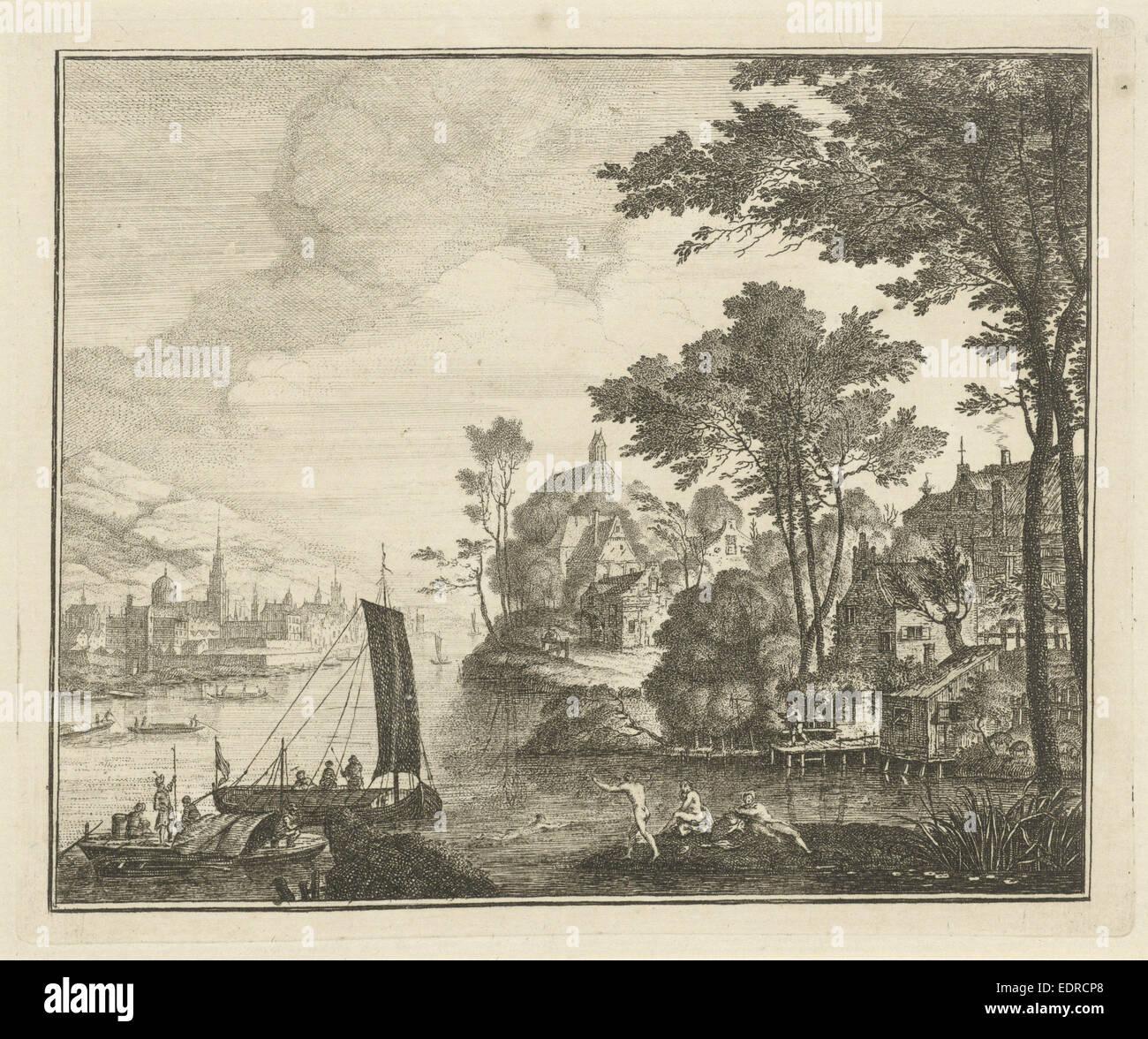 River landscape with bathers, Gerard Melder, 1703 - 1754 - Stock Image