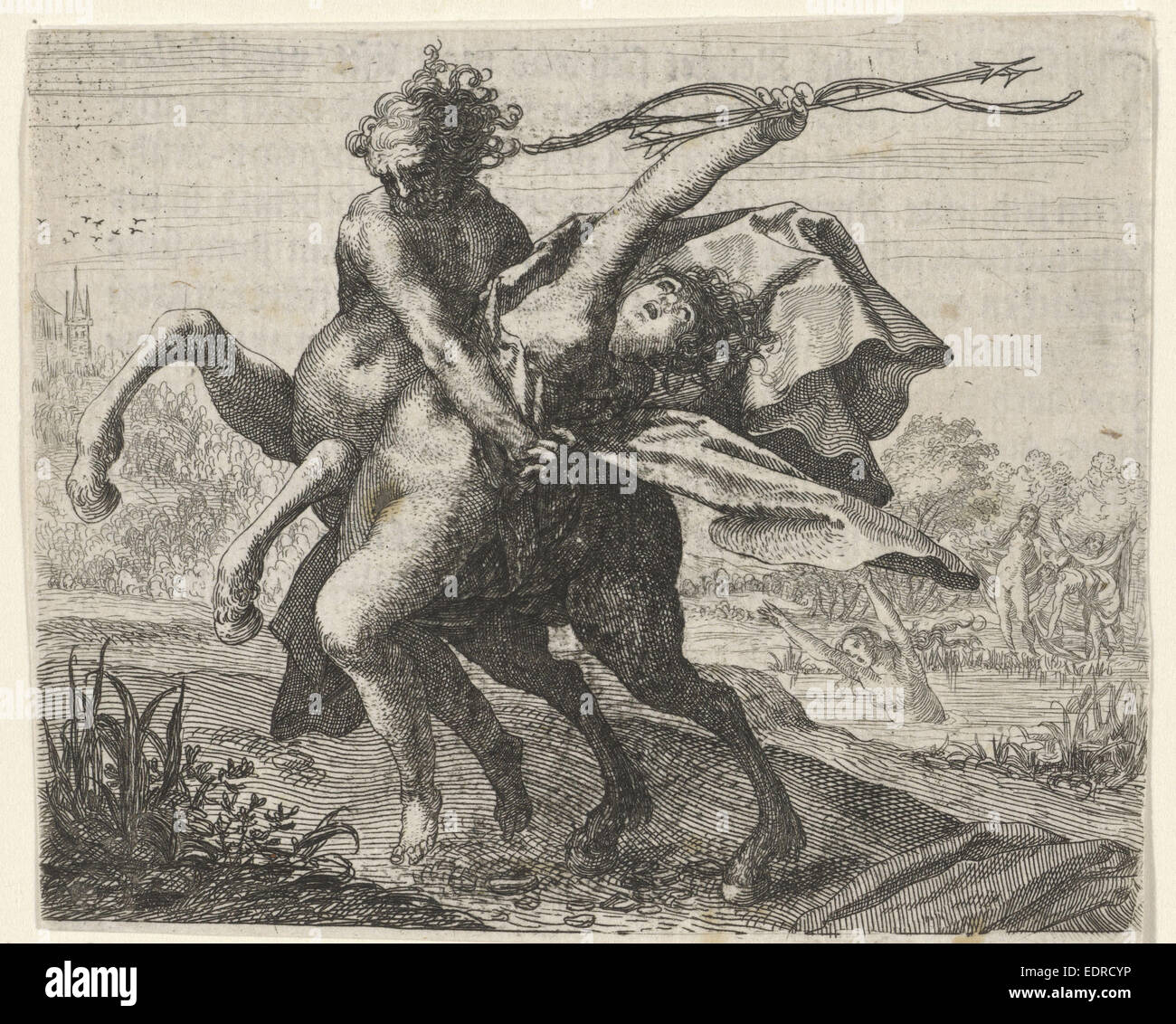 Fable of the abduction of a woman by a centaur, Aegidius Sadeler, 1608 - Stock Image