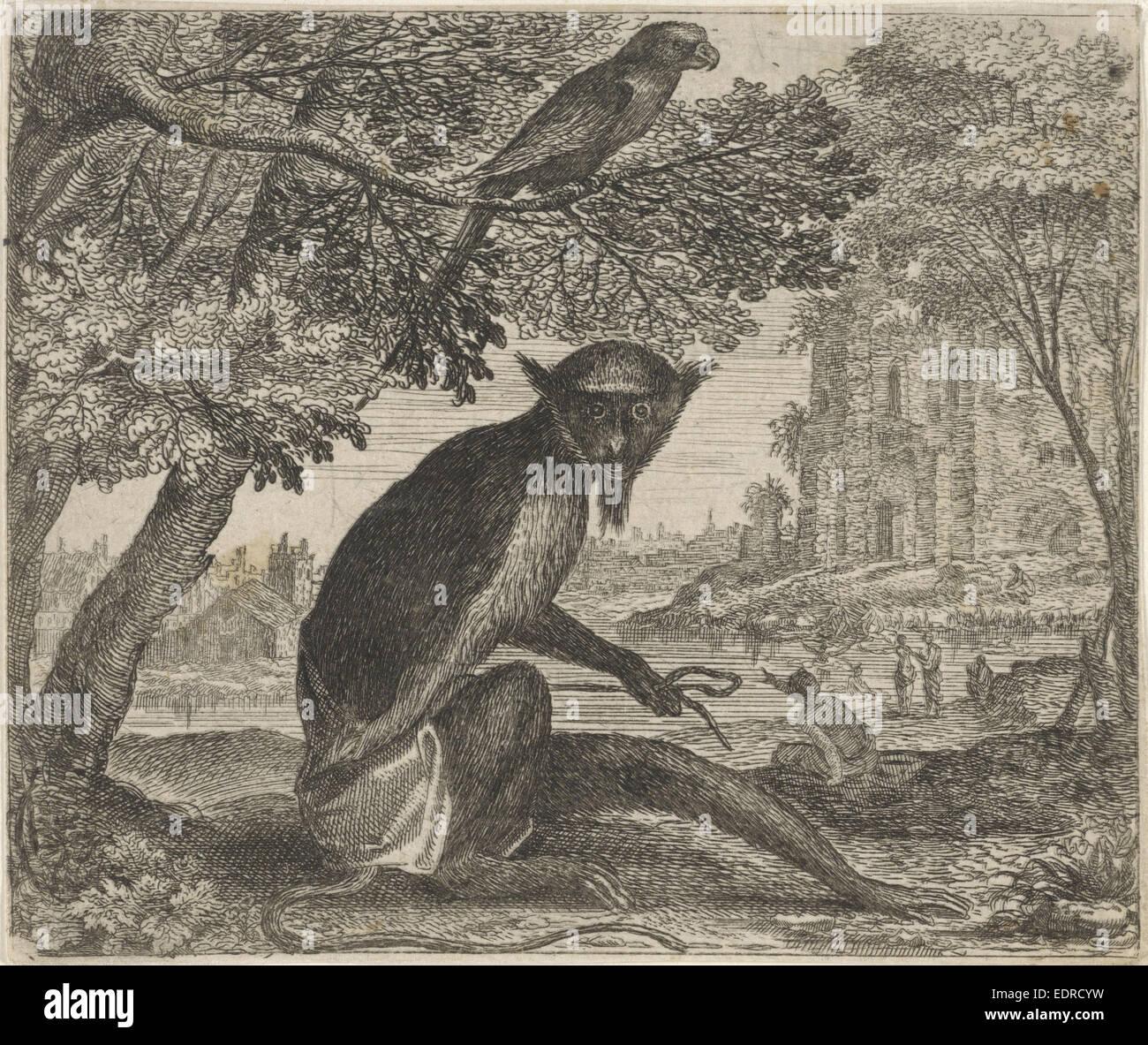 Fable of the parrot and monkey, Aegidius Sadeler, 1608 - Stock Image