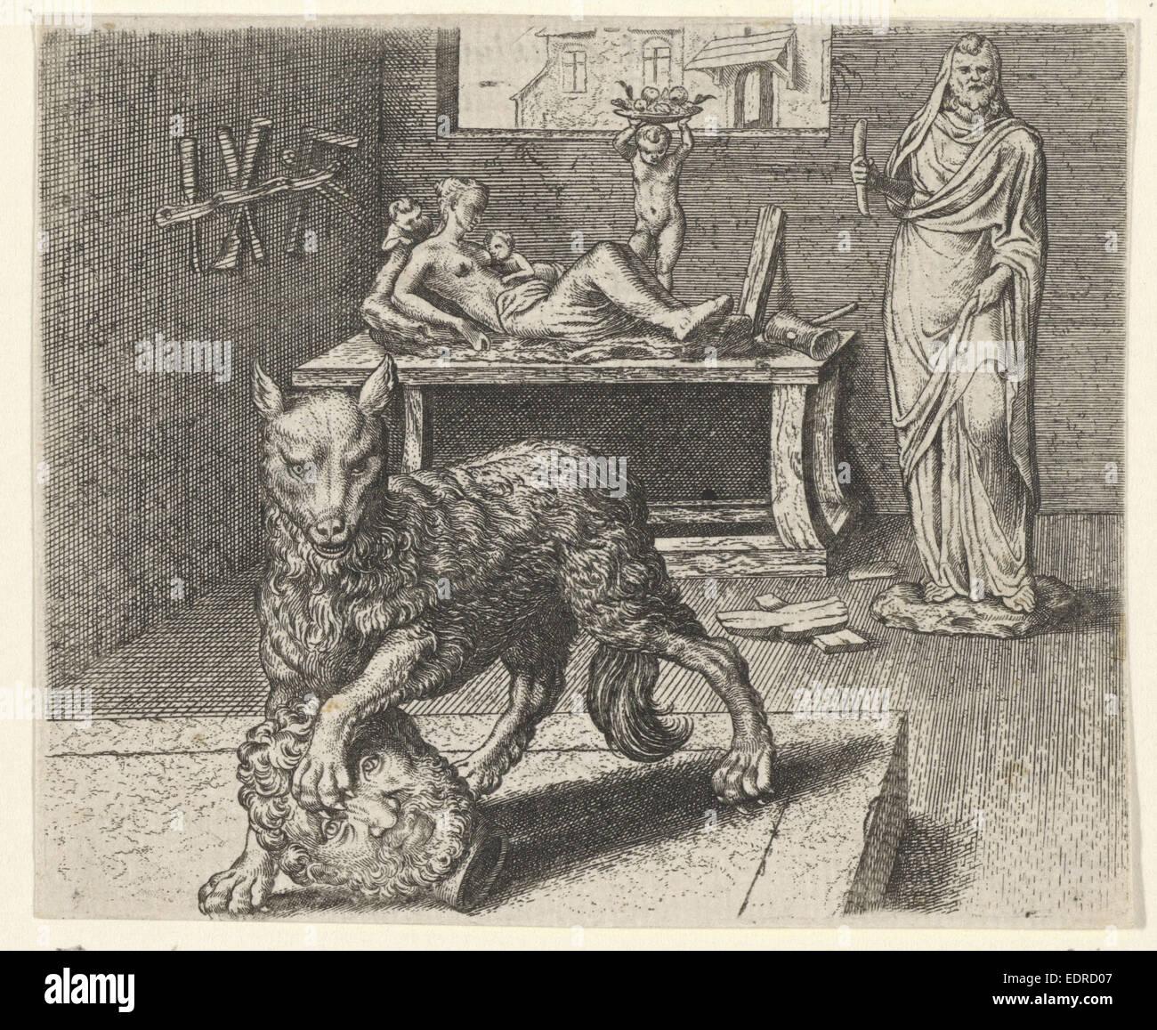 Fable of Wolf and statue, Aegidius Sadeler, Marcus Gheeraerts (I) - Stock Image