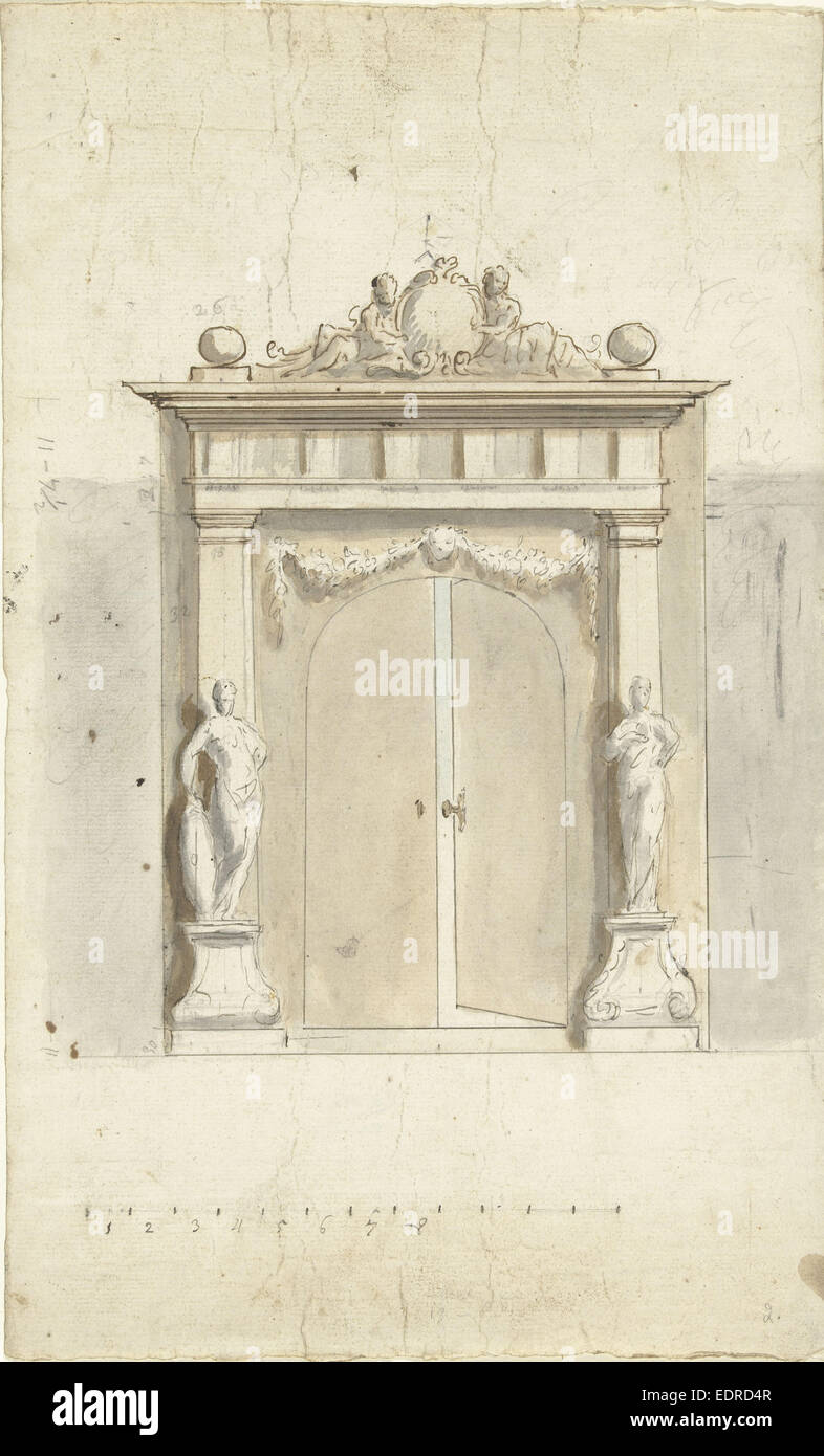 Design for an entrance gate with two images, Elias van Nijmegen, 1677 - 1755 - Stock Image