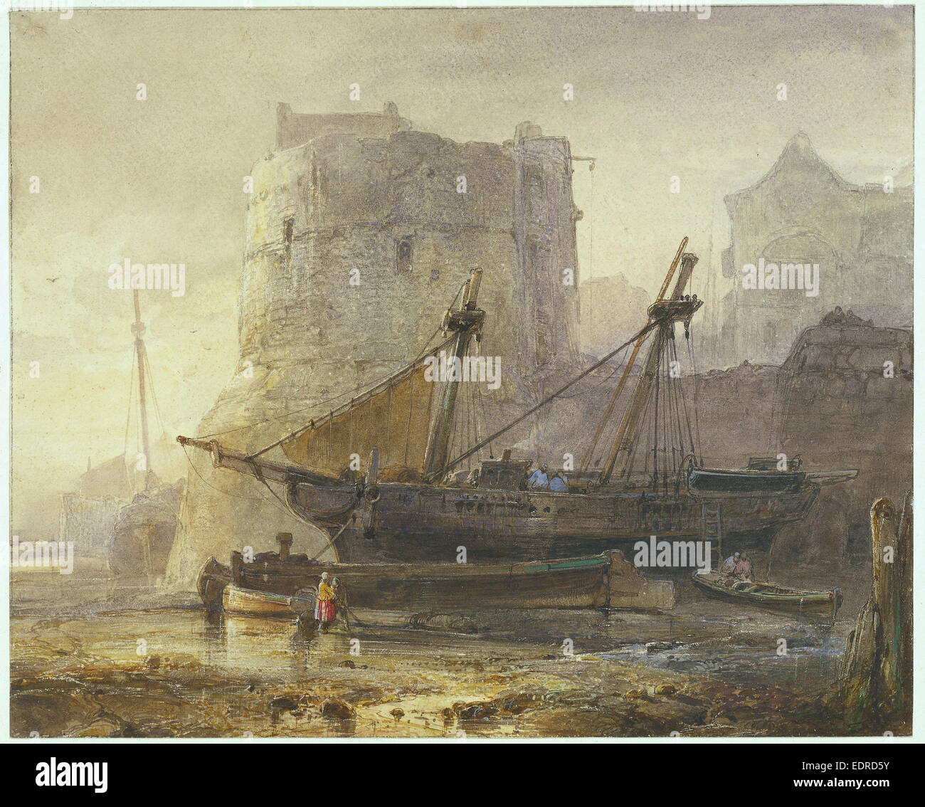 Ships at low tide in a French port, Wijnand Nuijen, 1836 - Stock Image