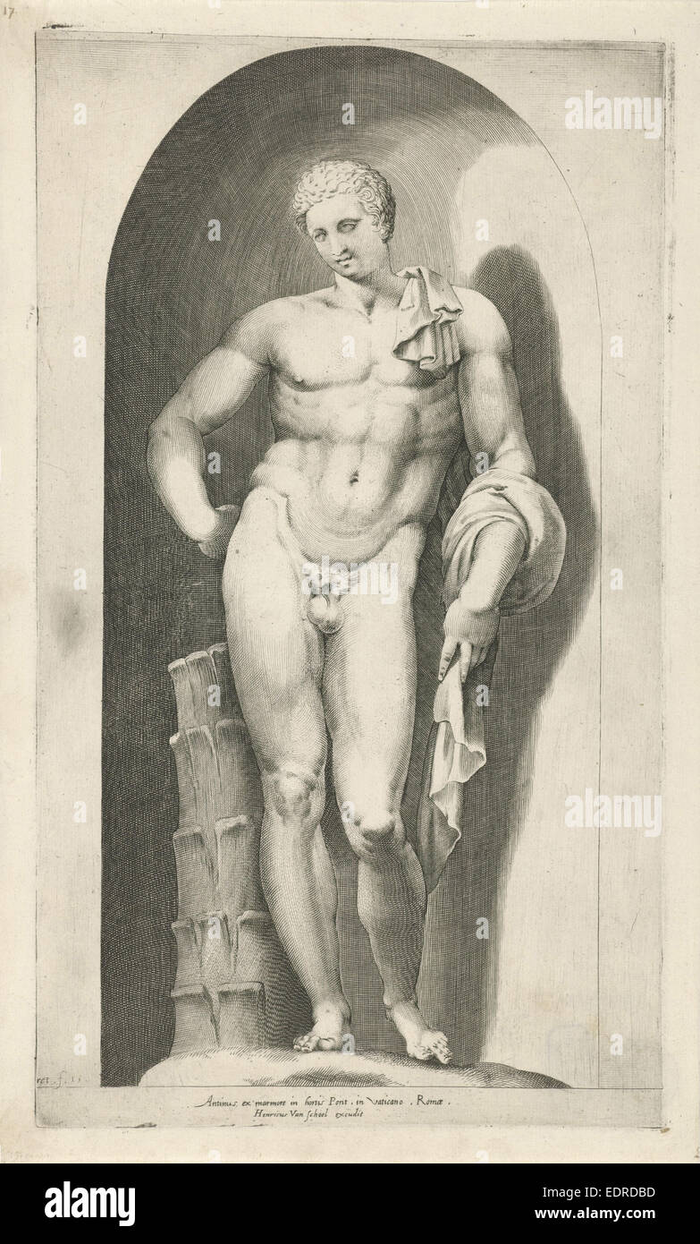 Statue of Antinous, Pieter Perret, Hendrick van Schoel, 1580 - Stock Image