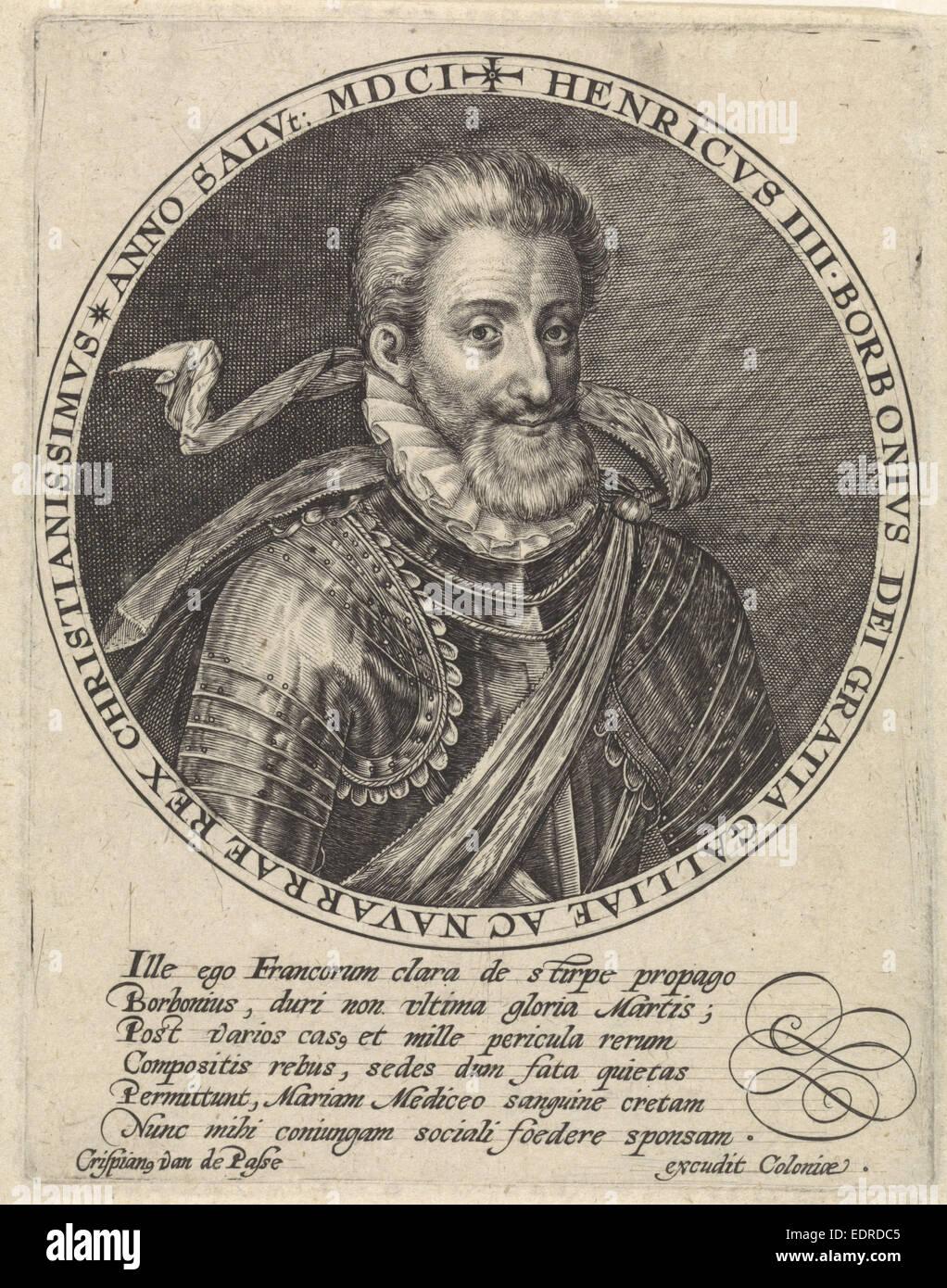 Portrait of Henry IV, Crispijn van de Passe (I), 1601 - Stock Image